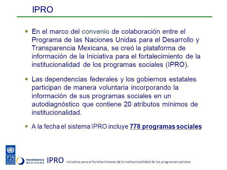 IPRO Iniciativa para el fortalecimiento de la institucionalidad de los programas sociales IPRO En el marco del convenio de colaboración entre el Programa de las Naciones Unidas para el Desarrollo y Transparencia Mexicana, se creó la plataforma de información de la Iniciativa para el fortalecimiento de la institucionalidad de los programas sociales (IPRO).