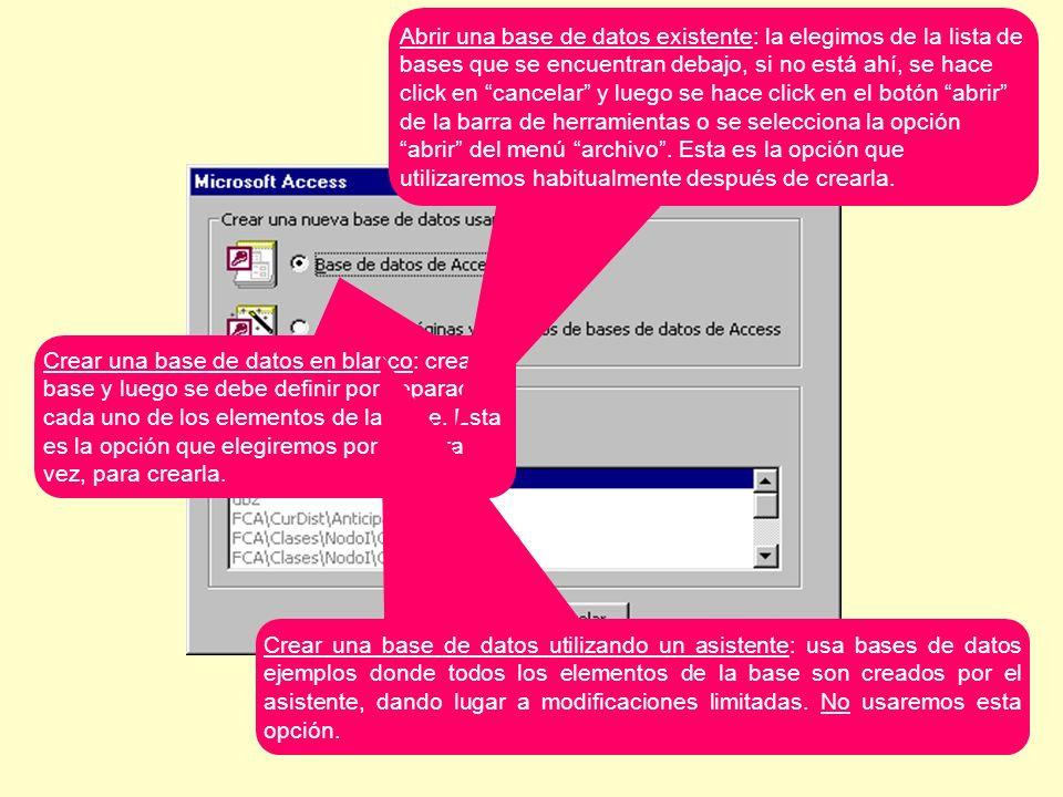 Al crearla, Access solicita el nombre y el lugar dónde almacenar la base, es un archivo con extensión.mdb.