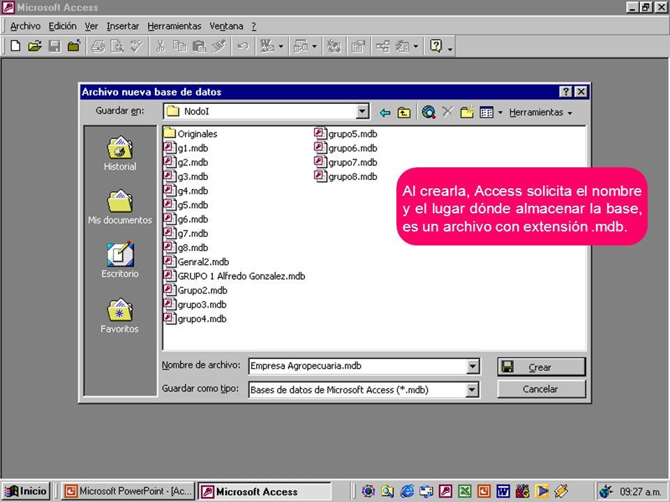 Aparece la ventana de la base de datos con el menú de objetos para ir creándolos (Nuevo), ejecutarlo o verlos (Abrir) o abrirlos para hacer alguna corrección (Diseño)