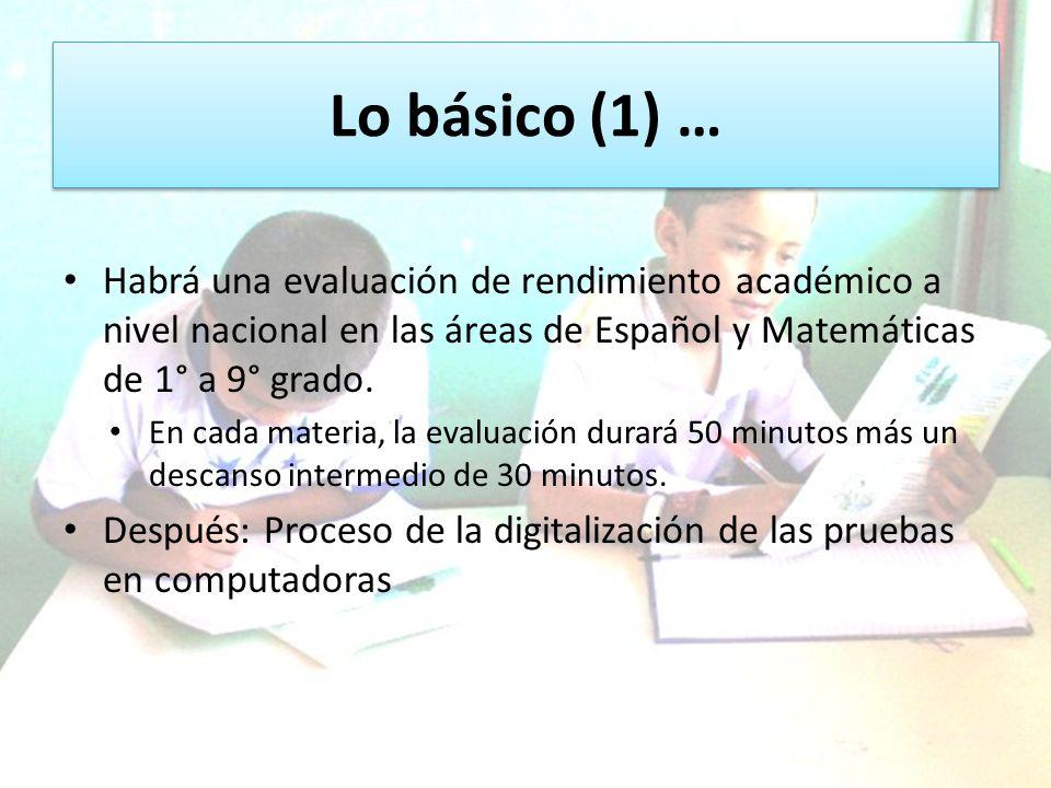 Lo básico (1) … Habrá una evaluación de rendimiento académico a nivel nacional en las áreas de Español y Matemáticas de 1° a 9° grado. En cada materia