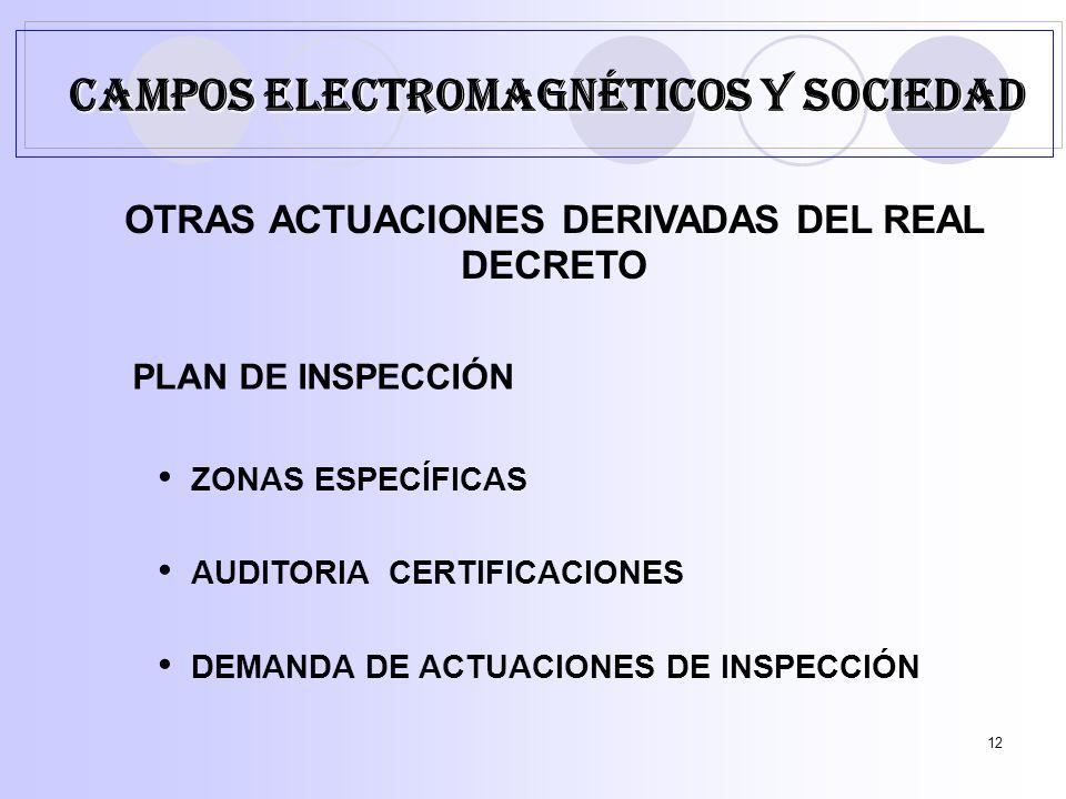 12 OTRAS ACTUACIONES DERIVADAS DEL REAL DECRETO PLAN DE INSPECCIÓN ZONAS ESPECÍFICAS AUDITORIA CERTIFICACIONES DEMANDA DE ACTUACIONES DE INSPECCIÓN CAMPOS ELECTROMAGNÉTICOS Y SOCIEDAD