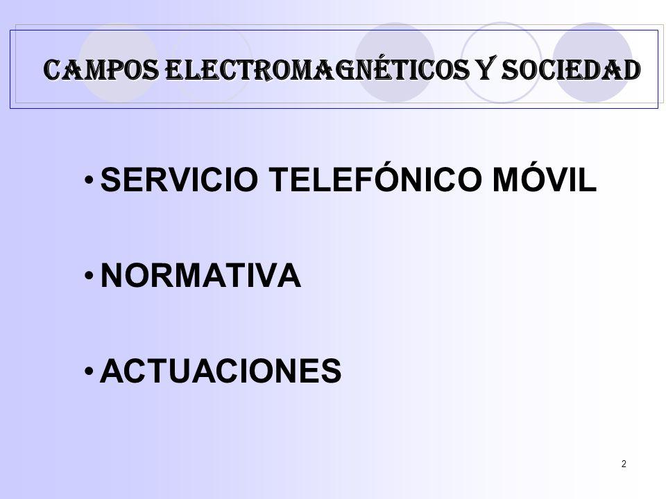 2 SERVICIO TELEFÓNICO MÓVIL NORMATIVA ACTUACIONES CAMPOS ELECTROMAGNÉTICOS Y SOCIEDAD