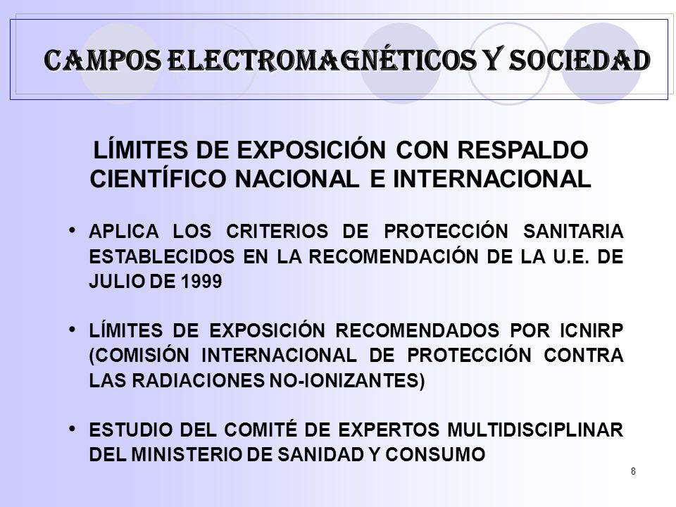 8 LÍMITES DE EXPOSICIÓN CON RESPALDO CIENTÍFICO NACIONAL E INTERNACIONAL APLICA LOS CRITERIOS DE PROTECCIÓN SANITARIA ESTABLECIDOS EN LA RECOMENDACIÓN DE LA U.E.