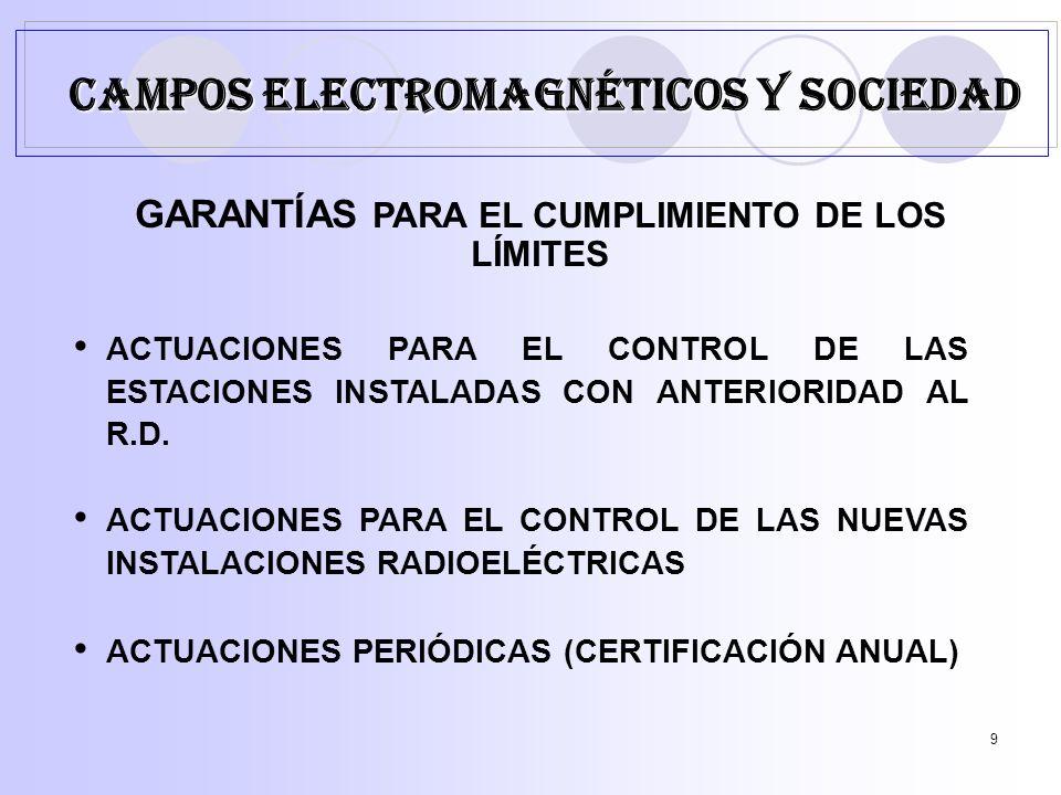9 GARANTÍAS PARA EL CUMPLIMIENTO DE LOS LÍMITES ACTUACIONES PARA EL CONTROL DE LAS ESTACIONES INSTALADAS CON ANTERIORIDAD AL R.D.