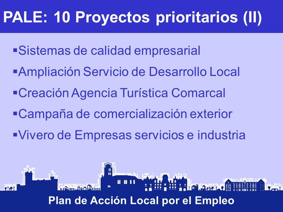 PALE: 10 Proyectos prioritarios (II) Plan de Acción Local por el Empleo Sistemas de calidad empresarial Ampliación Servicio de Desarrollo Local Creaci