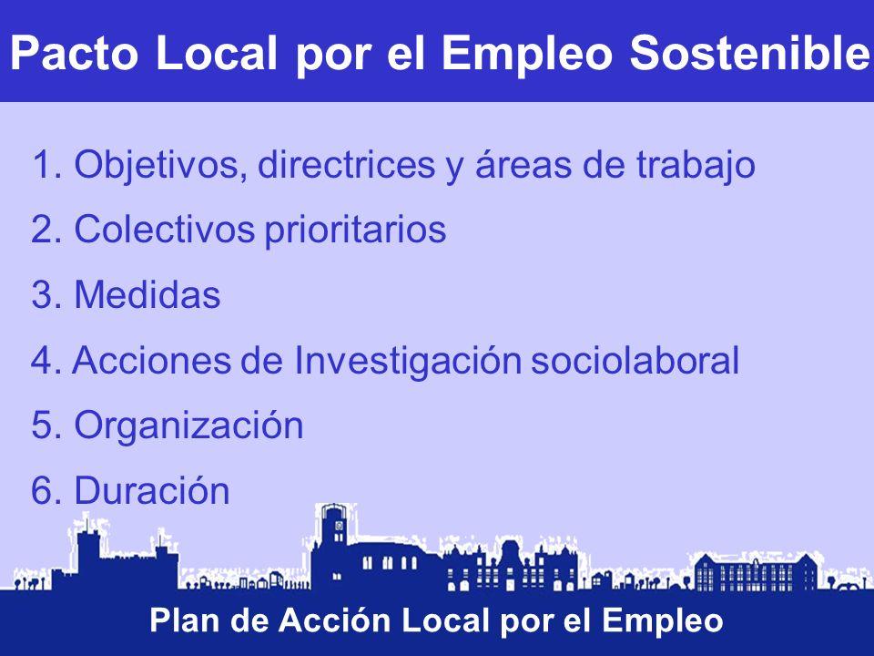 Pacto Local por el Empleo Sostenible Plan de Acción Local por el Empleo 1. Objetivos, directrices y áreas de trabajo 2. Colectivos prioritarios 3. Med