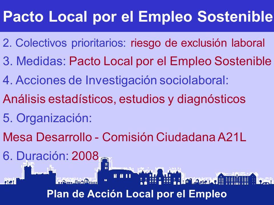 Pacto Local por el Empleo Sostenible Plan de Acción Local por el Empleo 2. Colectivos prioritarios: riesgo de exclusión laboral 3. Medidas: Pacto Loca