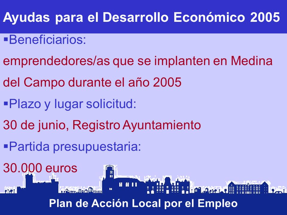 Ayudas para el Desarrollo Económico 2005 Plan de Acción Local por el Empleo Beneficiarios: emprendedores/as que se implanten en Medina del Campo duran
