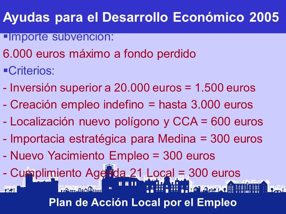 Ayudas para el Desarrollo Económico 2005 Plan de Acción Local por el Empleo Importe subvención: 6.000 euros máximo a fondo perdido Criterios: - Invers