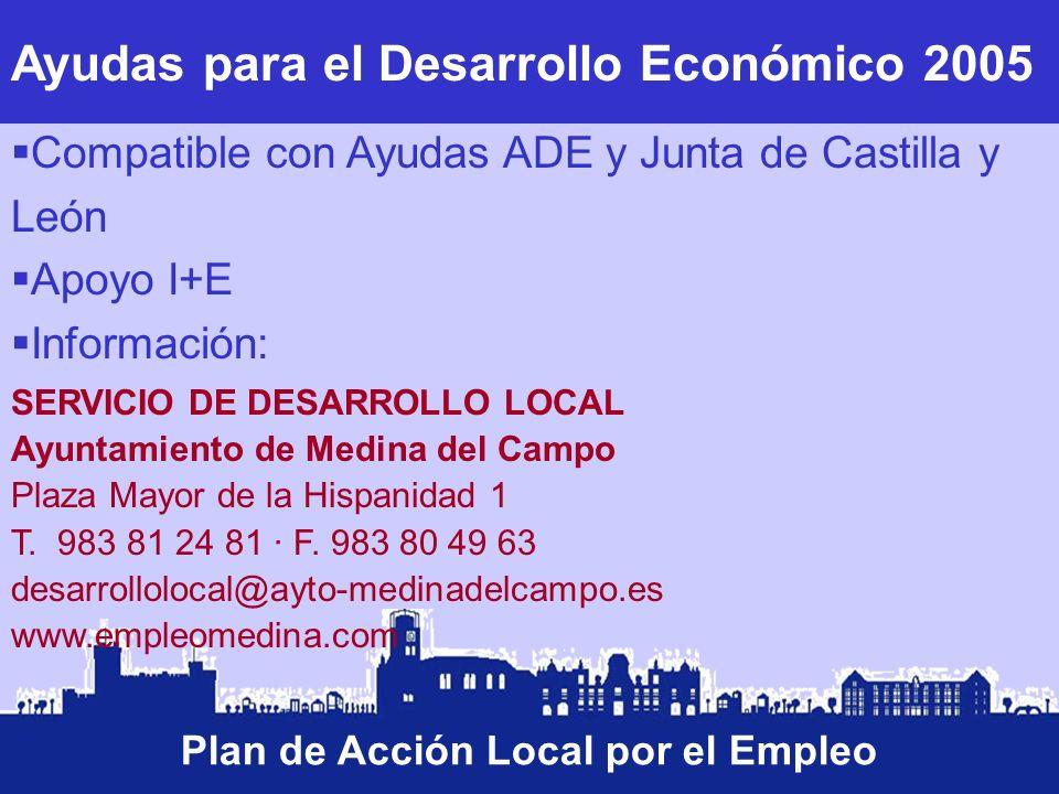 Ayudas para el Desarrollo Económico 2005 Plan de Acción Local por el Empleo Compatible con Ayudas ADE y Junta de Castilla y León Apoyo I+E Información