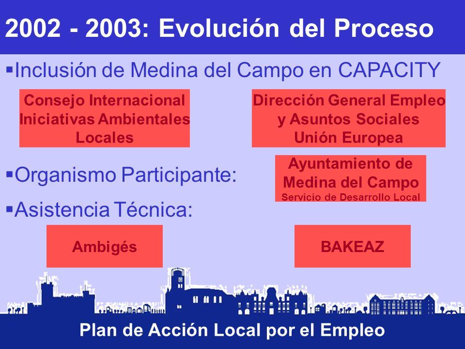 2002 - 2003: Evolución del Proceso Plan de Acción Local por el Empleo Inclusión de Medina del Campo en CAPACITY Consejo Internacional Iniciativas Ambi