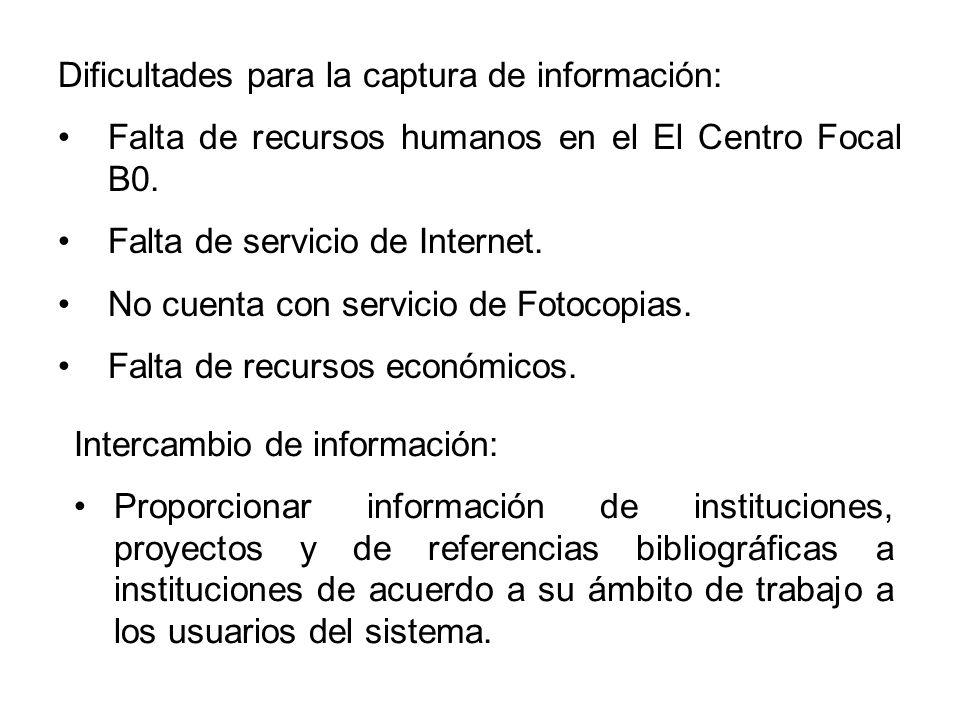 Dificultades para la captura de información: Falta de recursos humanos en el El Centro Focal B0.