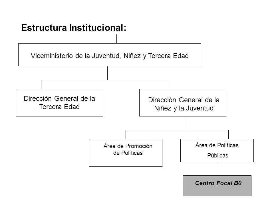 Estructura Institucional: Viceministerio de la Juventud, Niñez y Tercera Edad Dirección General de la Niñez y la Juventud Área de Promoción de Políticas Área de Políticas Públicas Centro Focal B0 Dirección General de la Tercera Edad