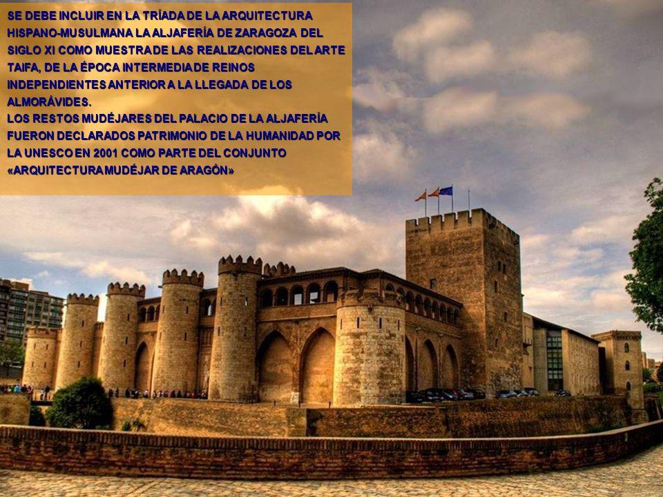 www.vitanoblepowerpoints.net SE DEBE INCLUIR EN LA TRÍADA DE LA ARQUITECTURA HISPANO-MUSULMANA LA ALJAFERÍA DE ZARAGOZA DEL SIGLO XI COMO MUESTRA DE LAS REALIZACIONES DEL ARTE TAIFA, DE LA ÉPOCA INTERMEDIA DE REINOS INDEPENDIENTES ANTERIOR A LA LLEGADA DE LOS ALMORÁVIDES.