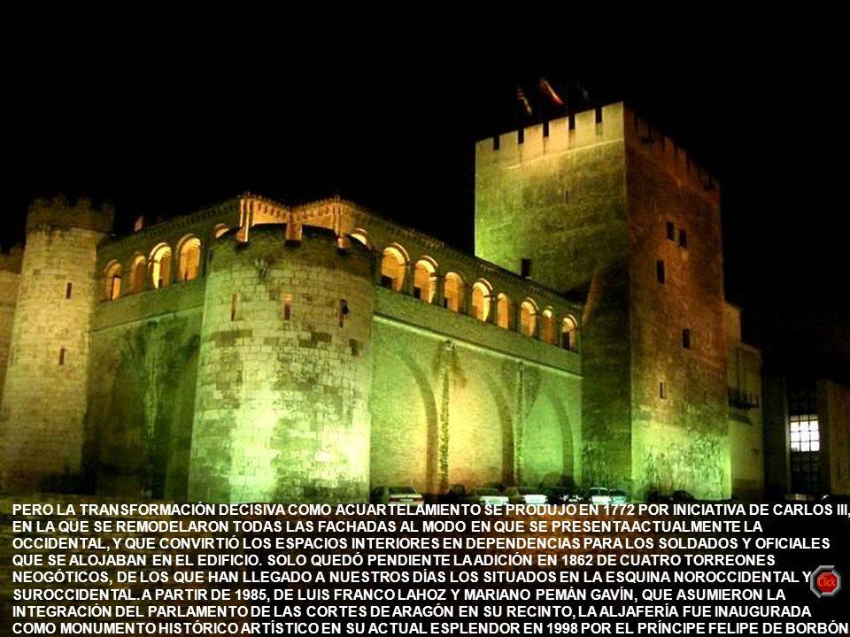 www.vitanoblepowerpoints.net LA ALJAFERÍA SE MANTUVO SIN CAMBIOS SUSTANCIALES HASTA 1705, EN QUE DEBIDO A LA GUERRA DE SUCESIÓN ESPAÑOLA FUE ALOJAMIEN