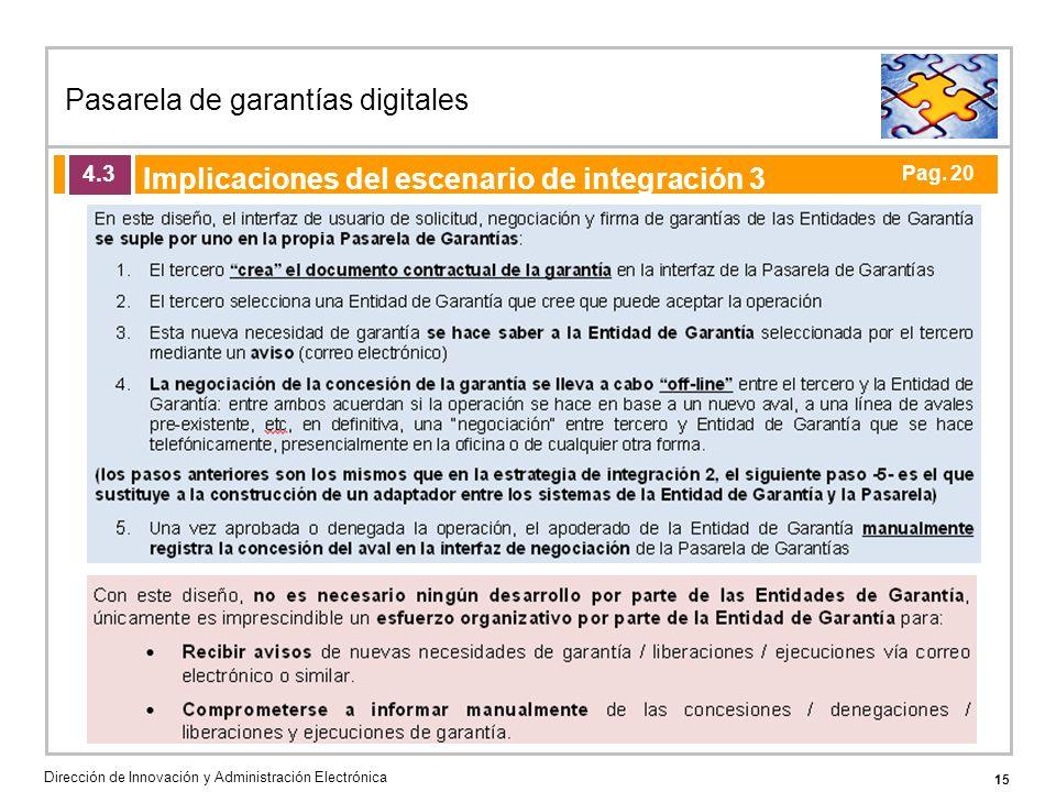 15 Pasarela de garantías digitales Dirección de Innovación y Administración Electrónica Agenda de la acción formativa Implicaciones del escenario de integración 3 4.3 Pag.