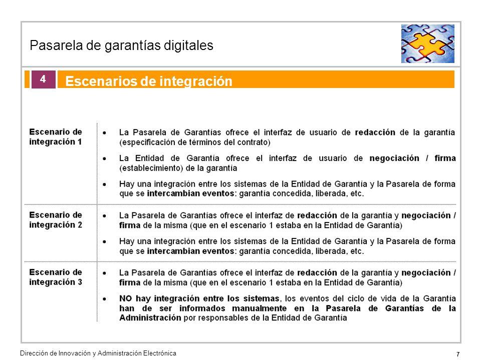 7 Pasarela de garantías digitales Dirección de Innovación y Administración Electrónica Agenda de la acción formativa Escenarios de integración 4