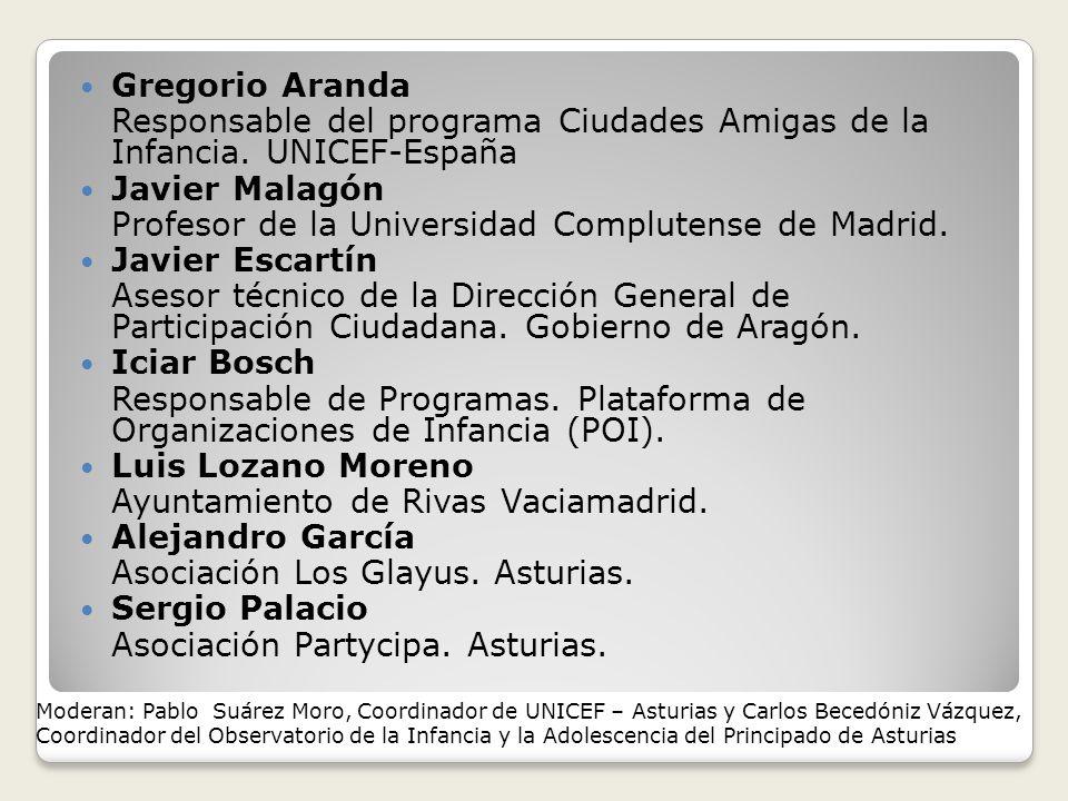 Gregorio Aranda Responsable del programa Ciudades Amigas de la Infancia.
