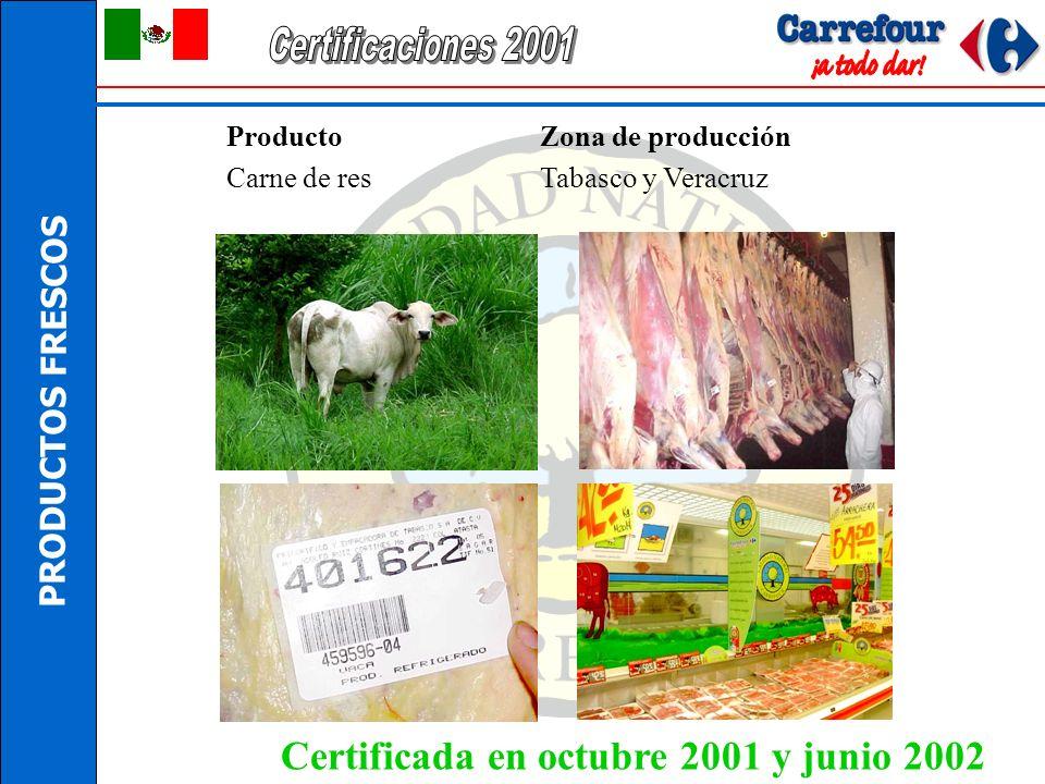 PRODUCTOS FRESCOS Producto Zona de producción Manzana de Chihuahua Cd. Cuauhtémoc, Chihuahua Certificada en octubre 2001