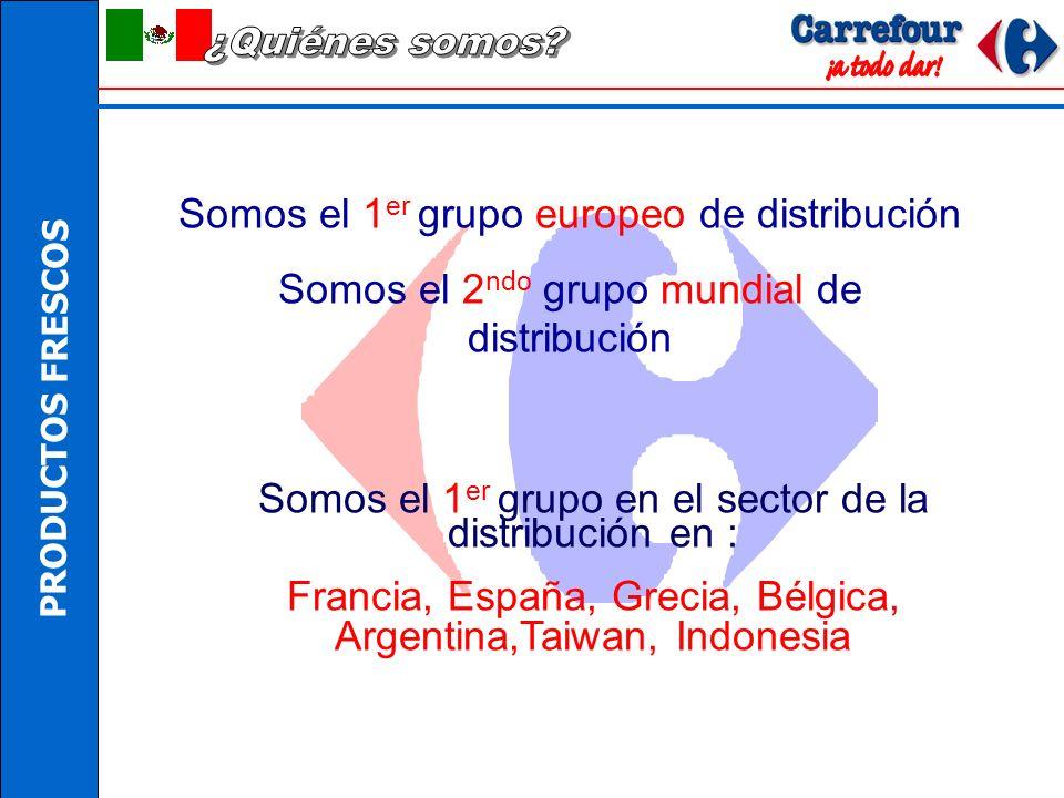 Somos el 1 er grupo europeo de distribución Somos el 2 ndo grupo mundial de distribución Somos el 1 er grupo en el sector de la distribución en : Francia, España, Grecia, Bélgica, Argentina,Taiwan, Indonesia