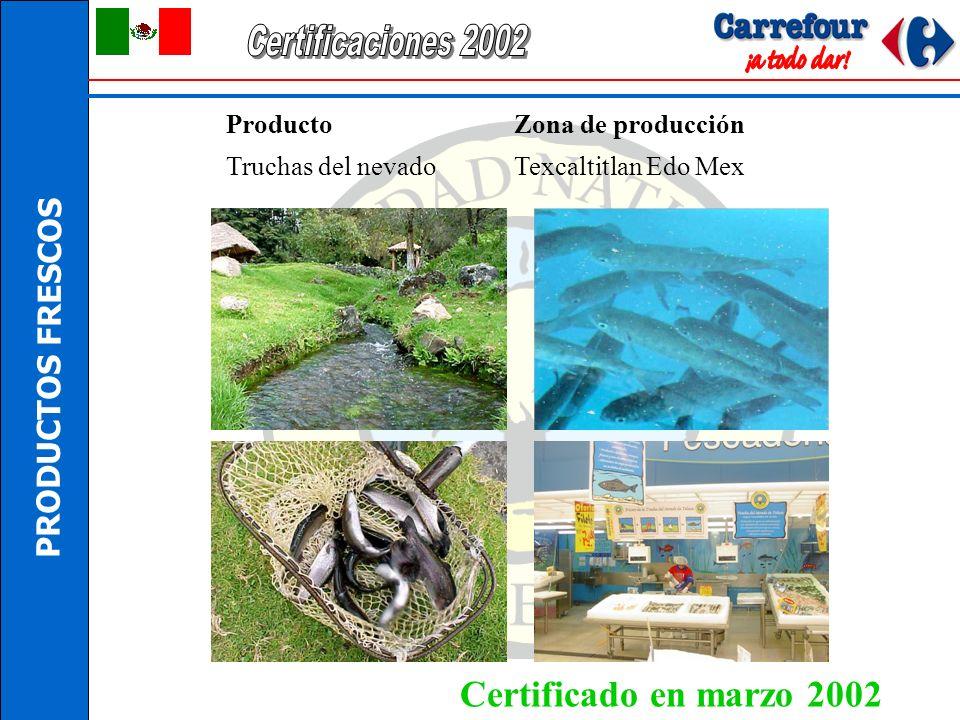 PRODUCTOS FRESCOS Producto Zona de producción Aguacate hass Uruapan, Michoacán Certificado en enero 2002