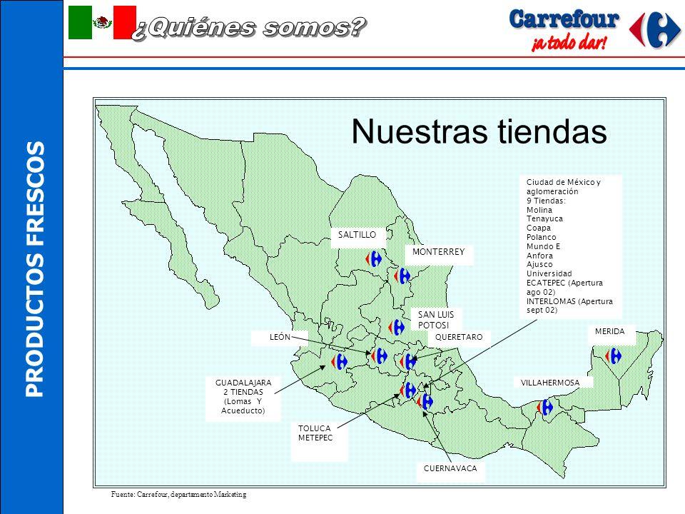 PRODUCTOS FRESCOS SALTILLO MONTERREY SAN LUIS POTOSI GUADALAJARA 2 TIENDAS (Lomas Y Acueducto) TOLUCA METEPEC Ciudad de México y aglomeración 9 Tiendas: Molina Tenayuca Coapa Polanco Mundo E Anfora Ajusco Universidad ECATEPEC (Apertura ago 02) INTERLOMAS (Apertura sept 02) CUERNAVACA VILLAHERMOSA MERIDA QUERETAROLEÓN Fuente: Carrefour, departamento Marketing Nuestras tiendas
