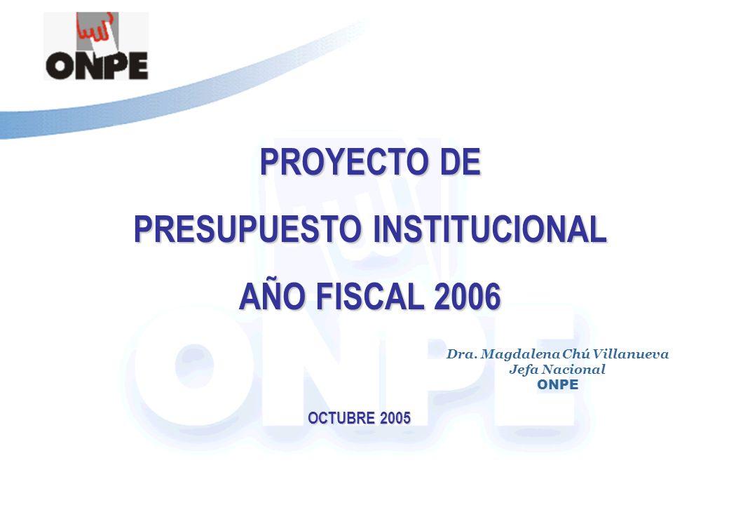 Título de la Presentación PROYECTO DE PRESUPUESTO INSTITUCIONAL AÑO FISCAL 2006 OCTUBRE 2005 Dra.