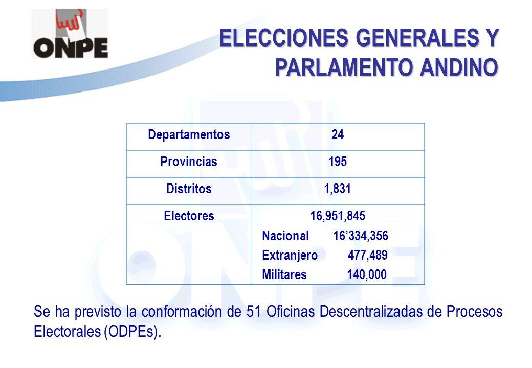 Título de la Presentación ELECCIONES GENERALES Y PARLAMENTO ANDINO Se ha previsto la conformación de 51 Oficinas Descentralizadas de Procesos Electorales (ODPEs).