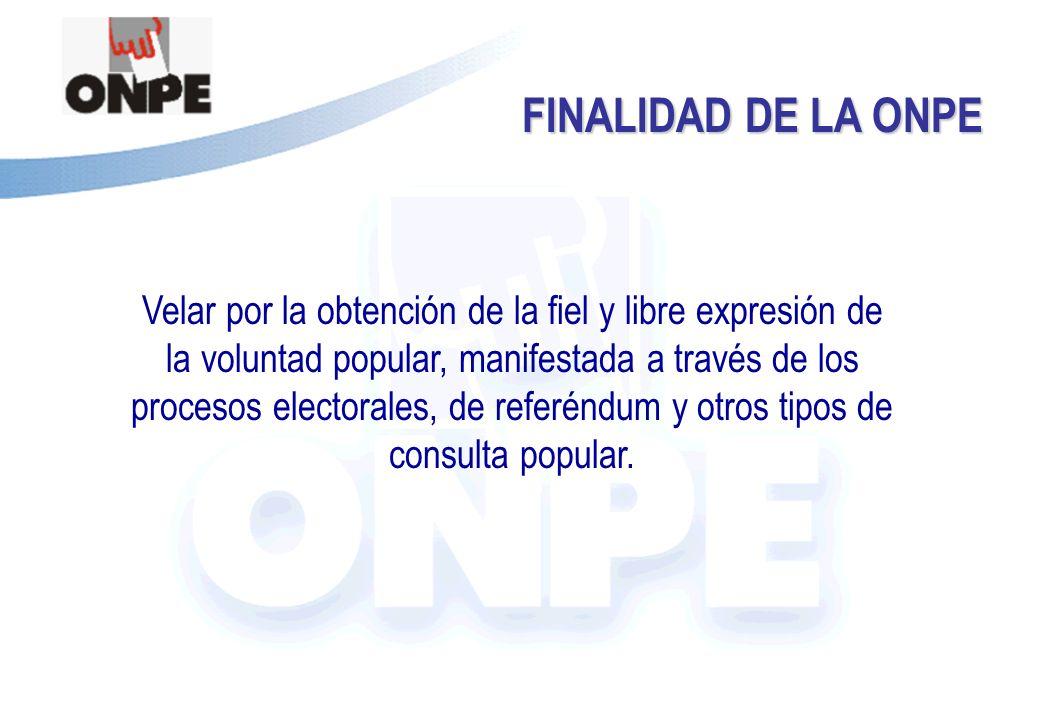 Título de la Presentación FINALIDAD DE LA ONPE Velar por la obtención de la fiel y libre expresión de la voluntad popular, manifestada a través de los procesos electorales, de referéndum y otros tipos de consulta popular.