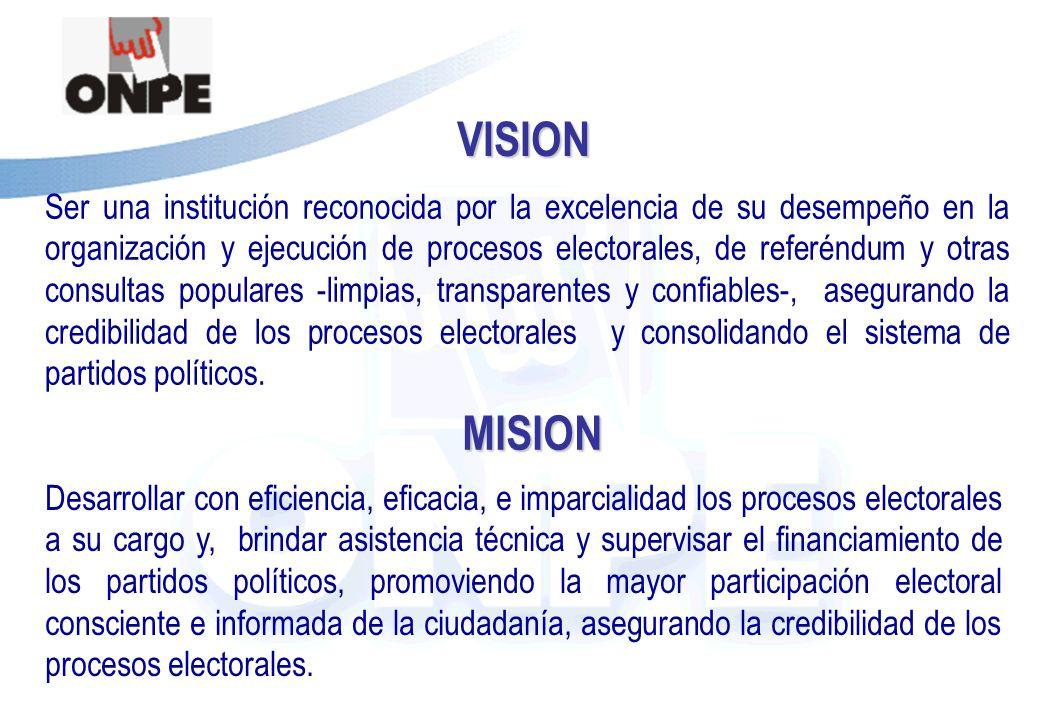 Título de la PresentaciónVISION Ser una institución reconocida por la excelencia de su desempeño en la organización y ejecución de procesos electorales, de referéndum y otras consultas populares -limpias, transparentes y confiables-, asegurando la credibilidad de los procesos electorales y consolidando el sistema de partidos políticos.