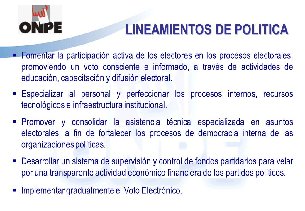 Título de la Presentación La promulgación de la Ley Nº 28581, publicada el 20 de julio de 2005, establece normas para la ejecución de las Elecciones Generales 2006, facultando a la ONPE a iniciar la implementación de la votación electrónica.