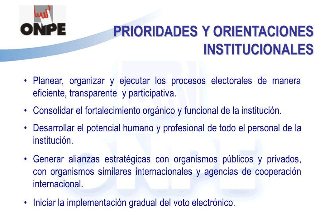 Título de la Presentación PRIORIDADES Y ORIENTACIONES INSTITUCIONALES Planear, organizar y ejecutar los procesos electorales de manera eficiente, transparente y participativa.