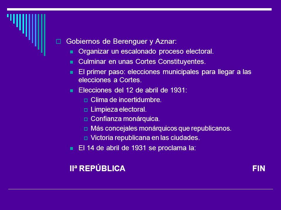 Gobiernos de Berenguer y Aznar: Organizar un escalonado proceso electoral.