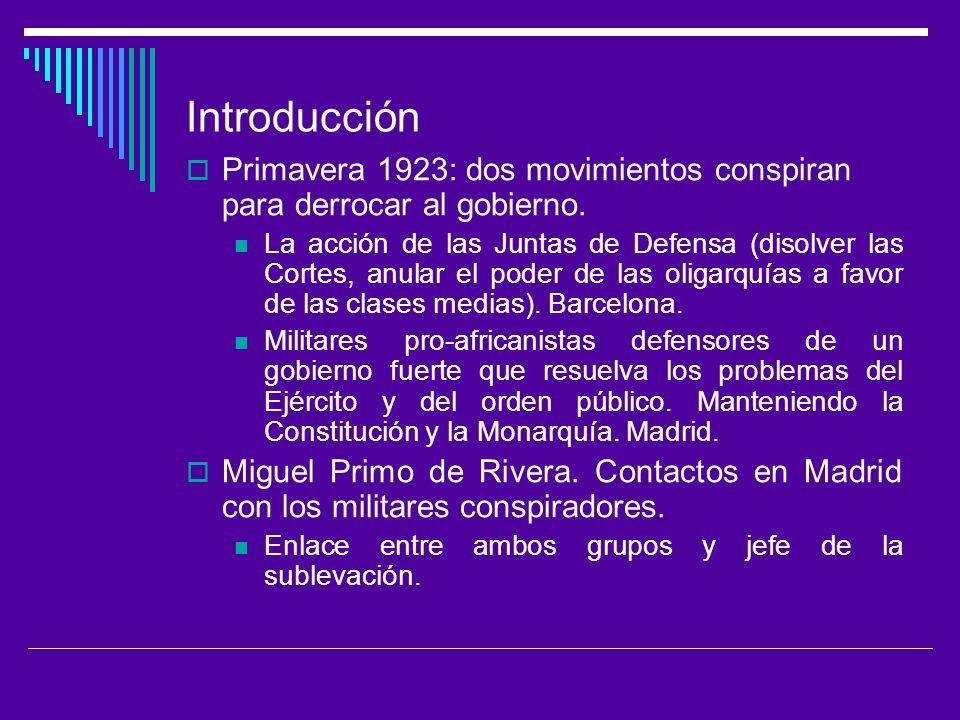 Introducción Primavera 1923: dos movimientos conspiran para derrocar al gobierno.