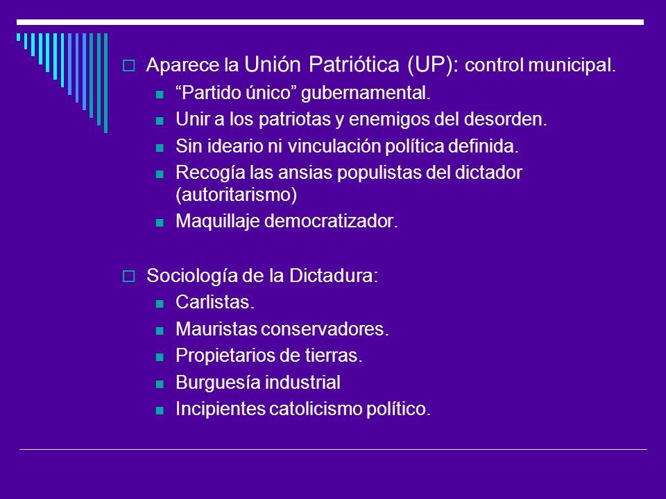Aparece la Unión Patriótica (UP): control municipal.