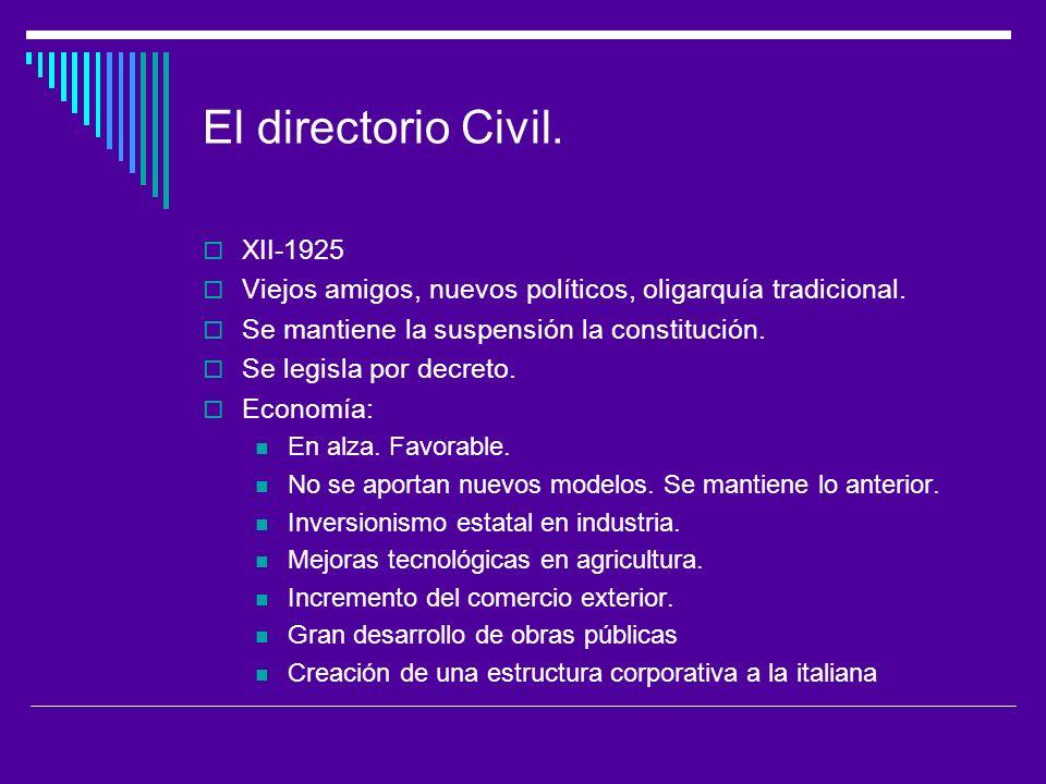 El directorio Civil.XII-1925 Viejos amigos, nuevos políticos, oligarquía tradicional.