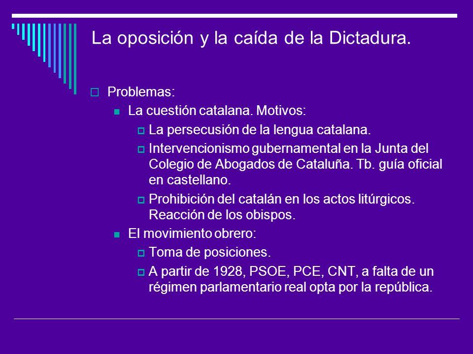 La oposición y la caída de la Dictadura.Problemas: La cuestión catalana.