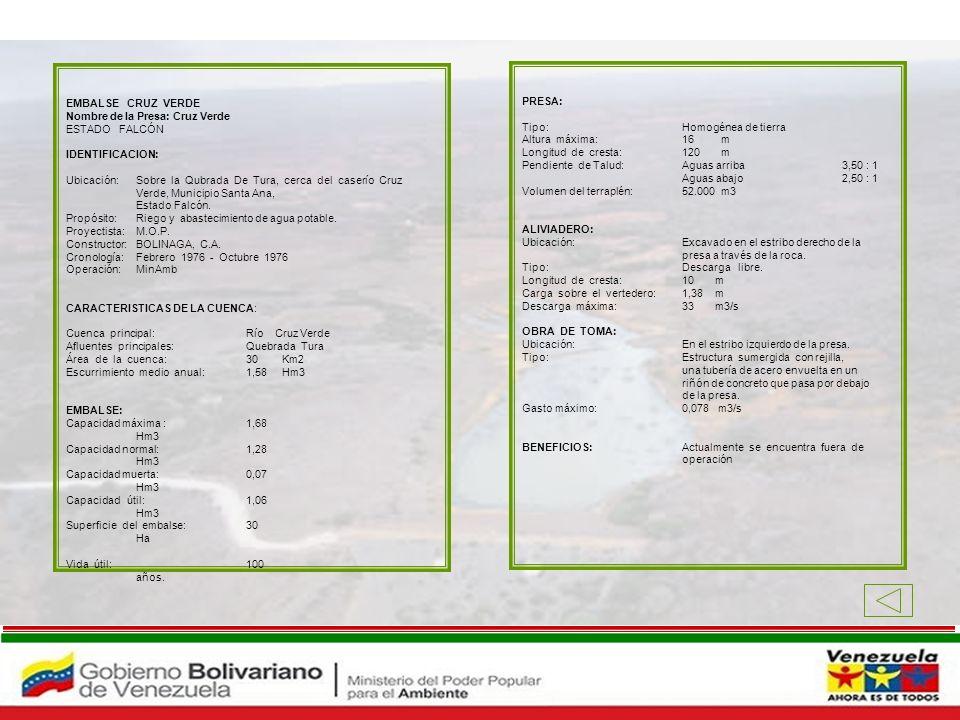 EMBALSE CRUZ VERDE Nombre de la Presa: Cruz Verde ESTADO FALCÓN IDENTIFICACION: Ubicación: Sobre la Qubrada De Tura, cerca del caserío Cruz Verde, Mun