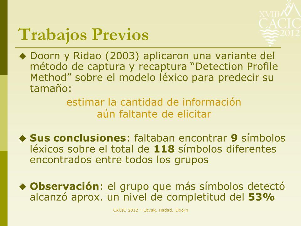 CACIC 2012 - Litvak, Hadad, Doorn Trabajos Previos Doorn y Ridao (2003) aplicaron una variante del método de captura y recaptura Detection Profile Method sobre el modelo léxico para predecir su tamaño: Sus conclusiones: faltaban encontrar 9 símbolos léxicos sobre el total de 118 símbolos diferentes encontrados entre todos los grupos Observación: el grupo que más símbolos detectó alcanzó aprox.