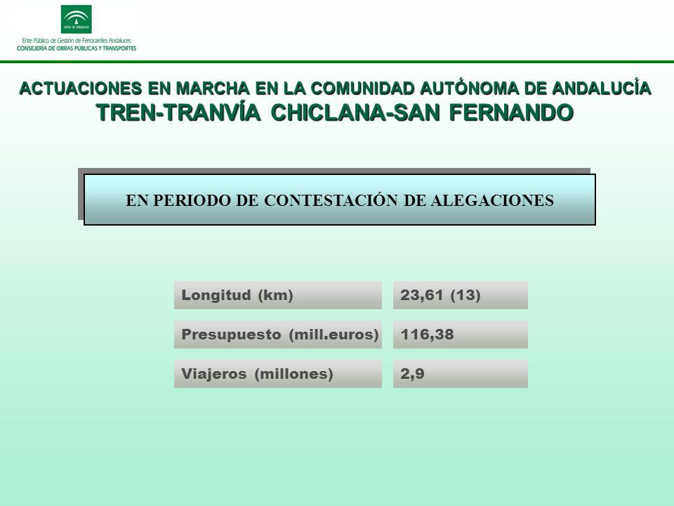 ACTUACIONES EN MARCHA EN LA COMUNIDAD AUTÓNOMA DE ANDALUCÍA TREN-TRANVÍA CHICLANA-SAN FERNANDO EN PERIODO DE CONTESTACIÓN DE ALEGACIONES Longitud (km)23,61 (13) Presupuesto (mill.euros)116,38 Viajeros (millones)2,9