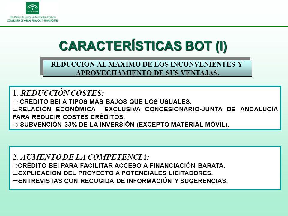 CARACTERÍSTICAS BOT (I) REDUCCIÓN AL MÁXIMO DE LOS INCONVENIENTES Y APROVECHAMIENTO DE SUS VENTAJAS.