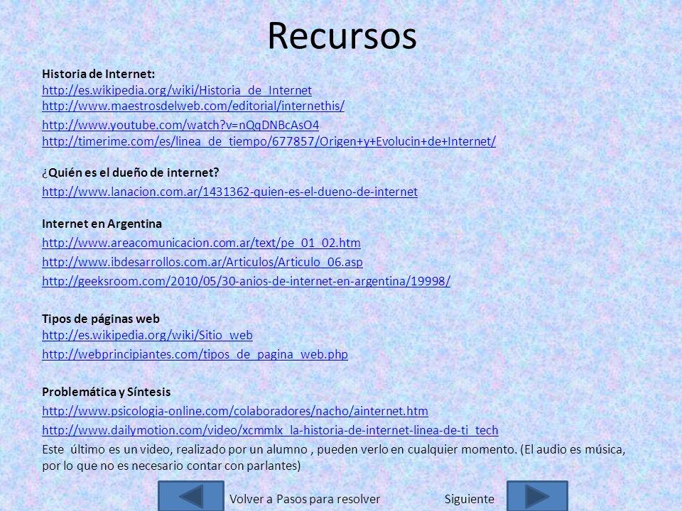Recursos Historia de Internet: http://es.wikipedia.org/wiki/Historia_de_Internet http://www.maestrosdelweb.com/editorial/internethis/ http://es.wikipedia.org/wiki/Historia_de_Internet http://www.maestrosdelweb.com/editorial/internethis/ http://www.youtube.com/watch v=nQqDNBcAsO4 http://timerime.com/es/linea_de_tiempo/677857/Origen+y+Evolucin+de+Internet/ http://www.youtube.com/watch v=nQqDNBcAsO4 http://timerime.com/es/linea_de_tiempo/677857/Origen+y+Evolucin+de+Internet/ ¿Quién es el dueño de internet.