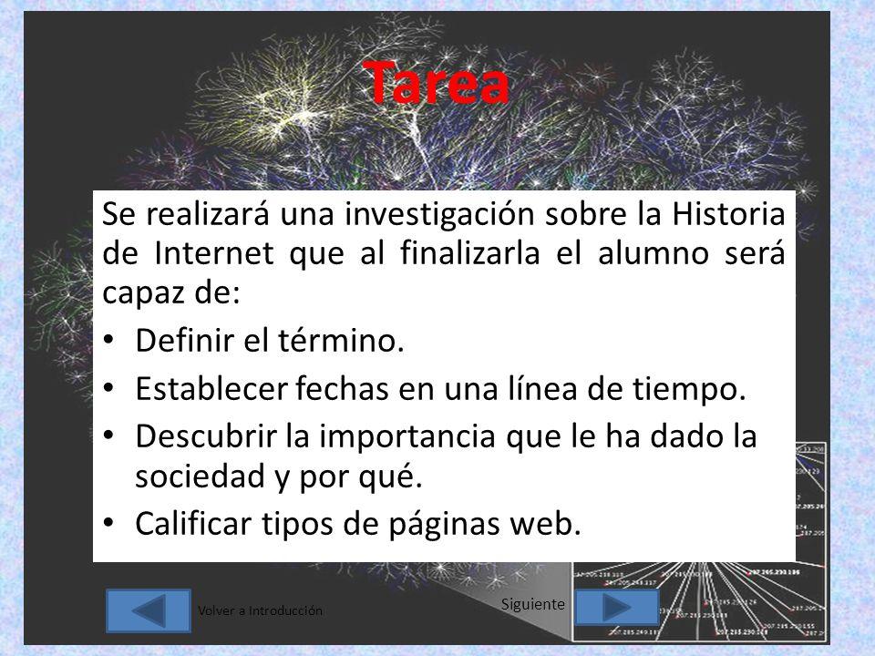 Tarea Se realizará una investigación sobre la Historia de Internet que al finalizarla el alumno será capaz de: Definir el término.
