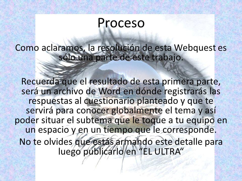 Proceso Como aclaramos, la resolución de esta Webquest es sólo una parte de este trabajo.