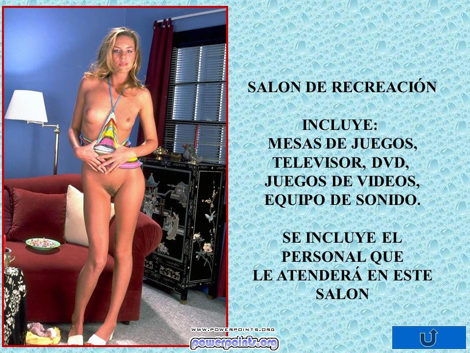 SALON DE RECREACIÓN INCLUYE: MESAS DE JUEGOS, TELEVISOR, DVD, JUEGOS DE VIDEOS, EQUIPO DE SONIDO.