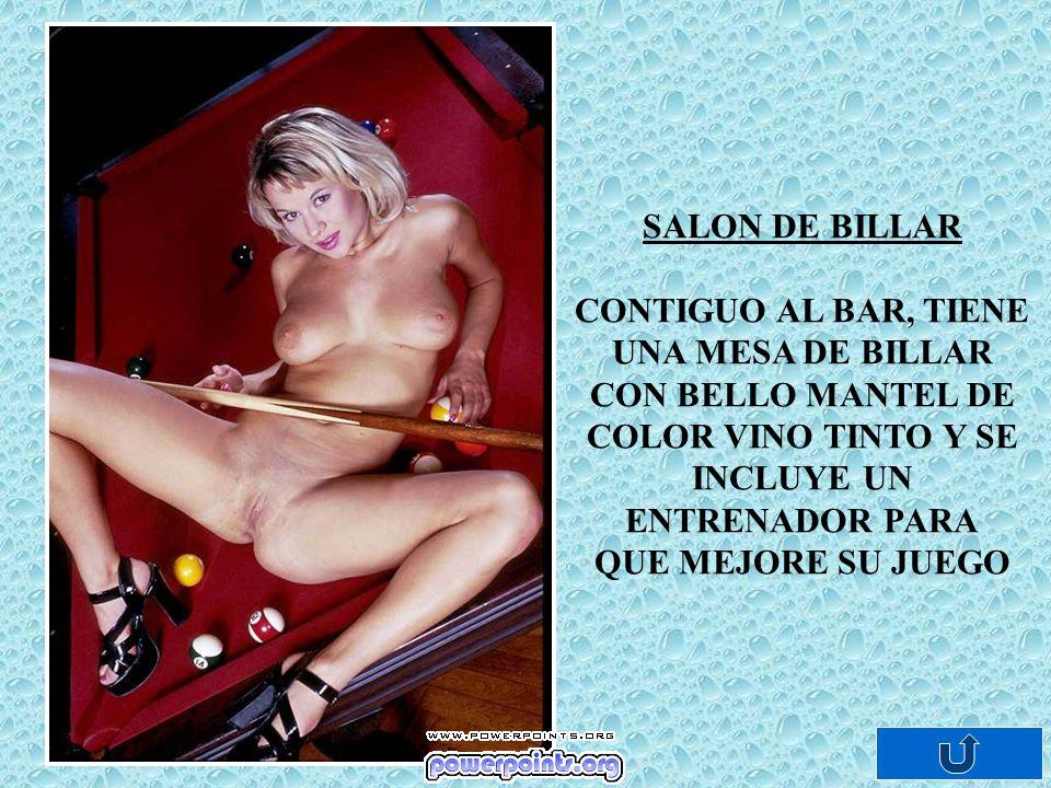 SALON DE BILLAR CONTIGUO AL BAR, TIENE UNA MESA DE BILLAR CON BELLO MANTEL DE COLOR VINO TINTO Y SE INCLUYE UN ENTRENADOR PARA QUE MEJORE SU JUEGO
