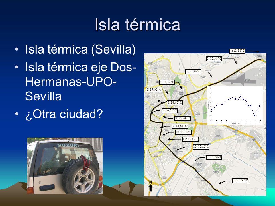 Isla térmica Isla térmica (Sevilla) Isla térmica eje Dos- Hermanas-UPO- Sevilla ¿Otra ciudad? 1: 12,18º C 5: 15,00º C 4: 14,52º C 3: 13,36º C 2: 13,30