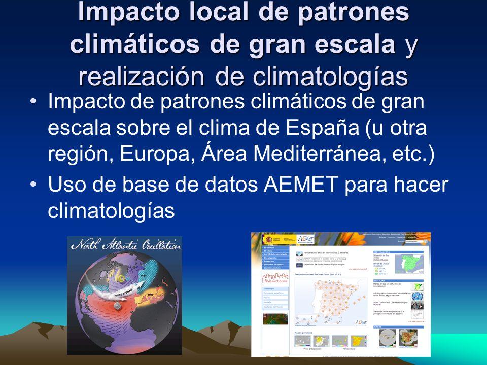 Impacto local de patrones climáticos de gran escala y realización de climatologías Impacto de patrones climáticos de gran escala sobre el clima de Esp