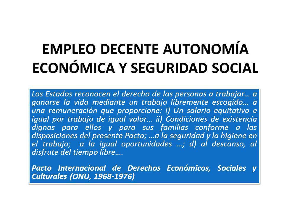 EMPLEO DECENTE AUTONOMÍA ECONÓMICA Y SEGURIDAD SOCIAL Los Estados reconocen el derecho de las personas a trabajar… a ganarse la vida mediante un traba