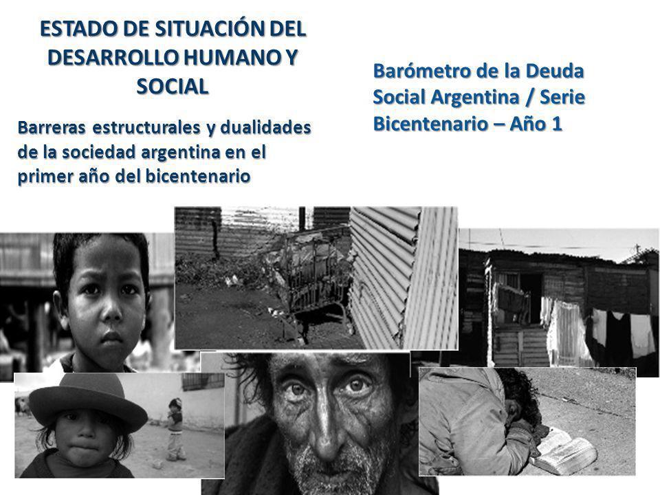 ESTADO DE SITUACIÓN DEL DESARROLLO HUMANO Y SOCIAL Barreras estructurales y dualidades de la sociedad argentina en el primer año del bicentenario Baró